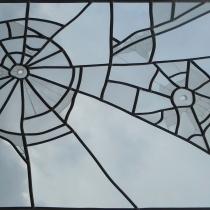 Pauline Le Goïc, vitrail monté au plomb avec verre float simple et sablé
