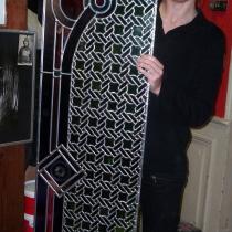 Pauline Le Goïc, Panneau de vitrail réalisé lors d'un stage chez David Pollet, à partir d'un de ses dessins originaux de création