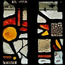 Pauline Le Goïc, Dalle de verre aux lucioles. Dalles de verre peintes, sérigraphiées et/ou thermoformées